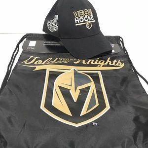 Vegas golden knights hat and sling bag